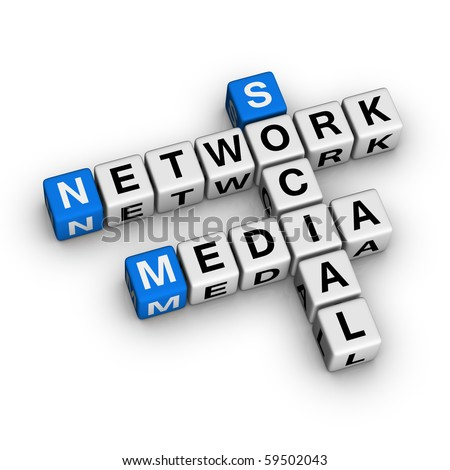 social media network crossword puzzle 3d stock illustration, Powerpoint templates