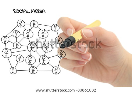 social media network diagram - stock photo