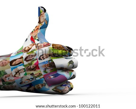 Social media network. Hand painted in people faces showing OK sign - stock photo