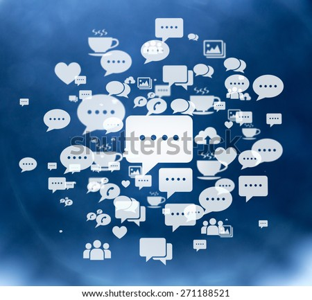 Social media network icons with big chat icon illustration. - stock photo