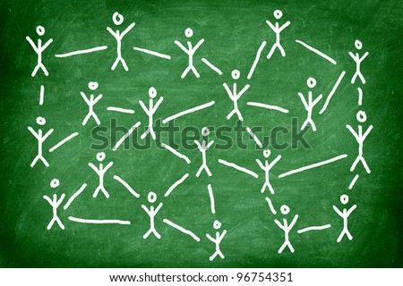 Social media network. Networking concept photo of blackboard chalk drawing of people connected. - stock photo