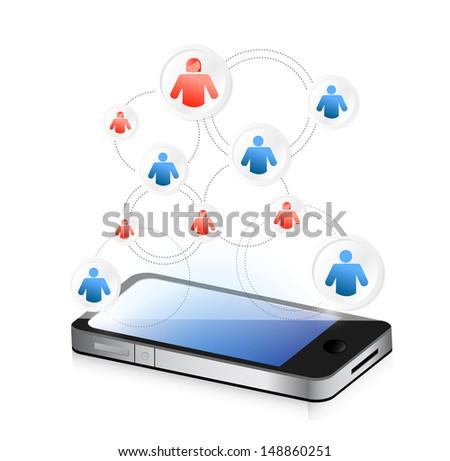 social media network on a smartphone. illustration design over white - stock photo