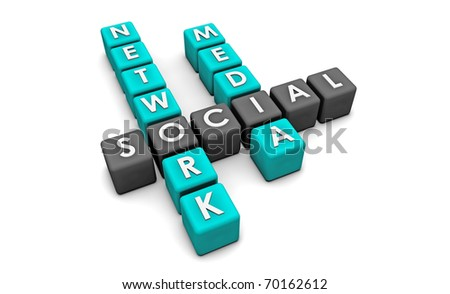 Social Media Network on the Internet in 3d - stock photo