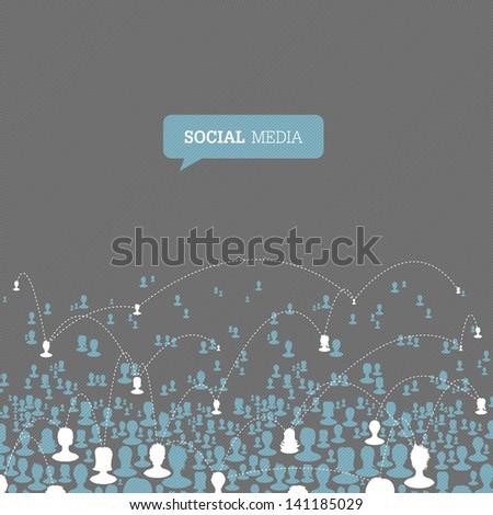 Social Media Network. Raster version, vector file available in my portfolio. - stock photo
