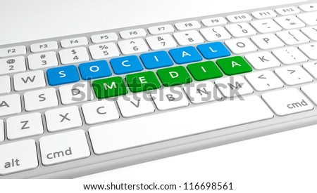 Social Media on a keyboard, with blue and green. - stock photo
