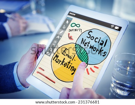 social media on a tablet - stock photo