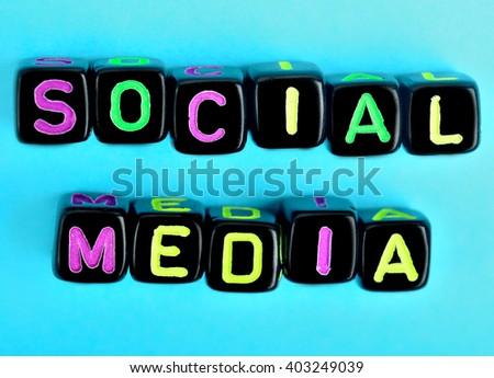 Social Media on blue background - stock photo