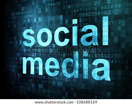 Social media on digital background on digital screen, 3d render - stock photo