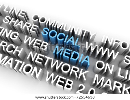 Social media on line marketing related words - stock photo