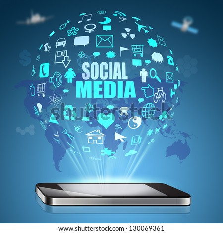 Social media on  Mobile Phone - stock photo