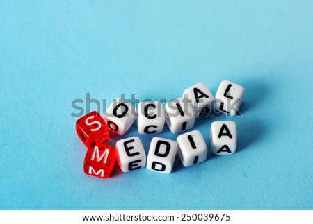 Social Media on red and  white  dices on  blue background - stock photo