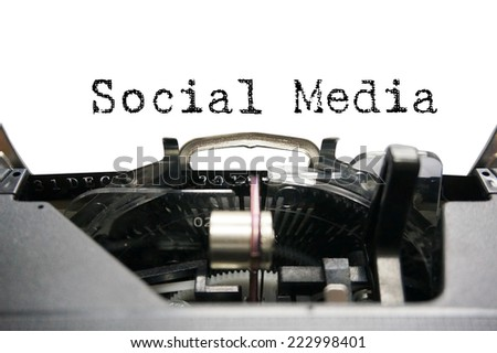 Social Media on typewriter - stock photo