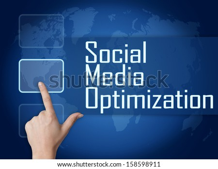 Social Media Optimization concept with interface and world map on blue background - stock photo