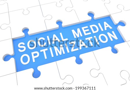 Social Media Optimization - puzzle 3d render illustration with word on blue background - stock photo