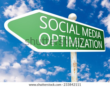 Social Media Optimization - street sign illustration in front of blue sky with clouds.