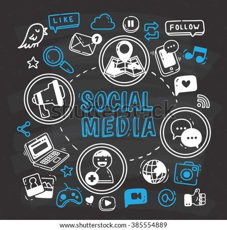 Social media or Internet themed doodle on chalkboard - stock photo