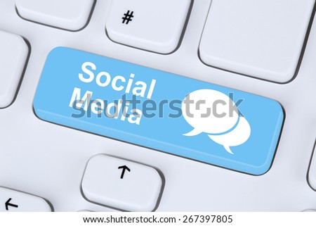 Social media or network internet networking online friendship on computer keyboard concept - stock photo