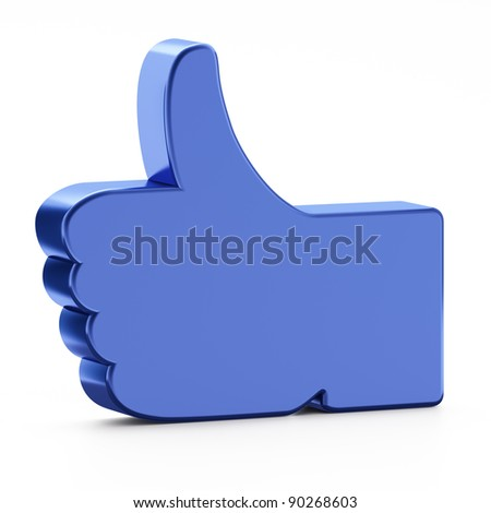"Social media or social network concept: ""Like"" symbol on white background,  3d render - stock photo"