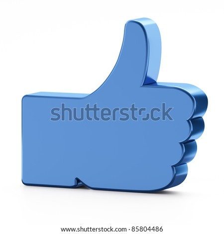 Social media or social network concept: Like symbol on white background,  thumb up. - stock photo