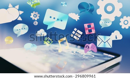 Social media over phone concept illustration. Smartphone with various social-related icons over screen.  - stock photo