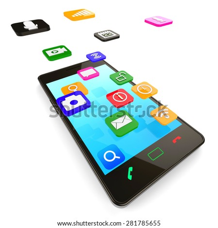 Social Media Phone Showing Application Software And Internet - stock photo