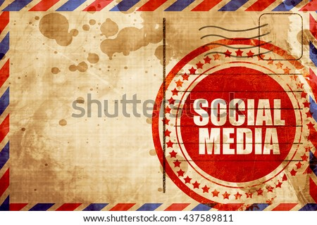 social media, red grunge stamp on an airmail background - stock photo