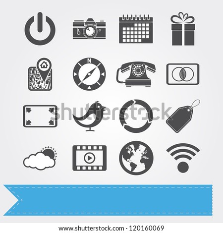 Social media related icons for your design or application. Vector version also available in my portfolio. - stock photo
