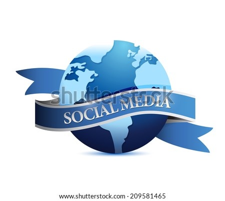 social media ribbon globe illustration design over a white background - stock photo