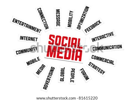 Social Media Sign. Cut pieces of paper with text on social media theme. Conceptual image made by word cloud technique. Isolated on white. - stock photo
