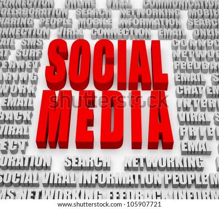 Social Media - Social Media theme with focus on headline - stock photo