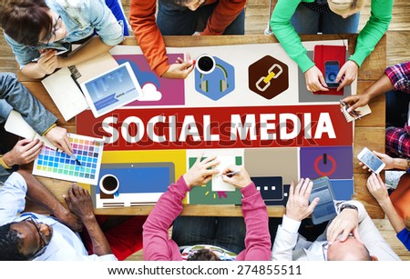 Social Media Social Networking Connection Media Link Concept - stock photo