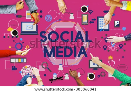 Social Media Social Networking Technology Innovation Concept - stock photo