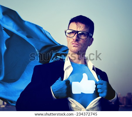 Social Media Superhero - stock photo
