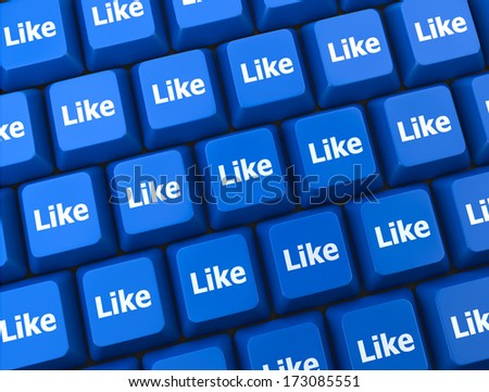 social media  symbol 3d like  thumb up - stock photo