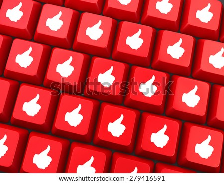 social media  symbol 3d render - stock photo