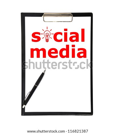 social media symbol in clipboard and pen