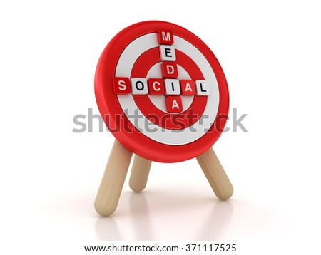 Social Media Target Crossword  - High Quality 3D Rendering - stock photo