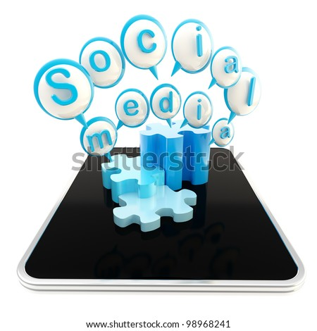 Social media technologies icon on the surface of mobile pad computer isolated on white