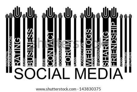 SOCIAL MEDIA text bar-code, - stock photo
