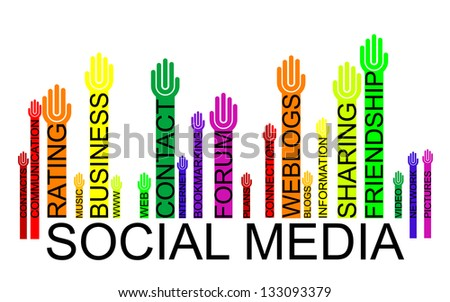 SOCIAL MEDIA text bar-code with hands - stock photo