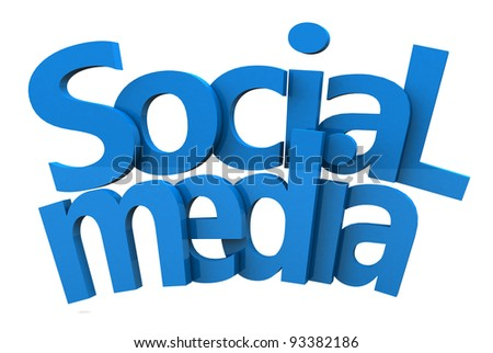 social media text 3d in blue red and green color on white - stock photo