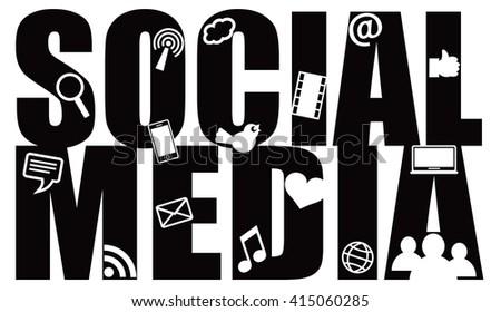 Social Media Text Outline with Symbols Black Isolated on White Background Raster Illustration - stock photo