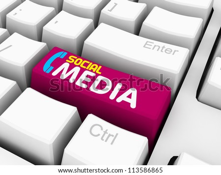 social media text with telephone on white keyboard - stock photo