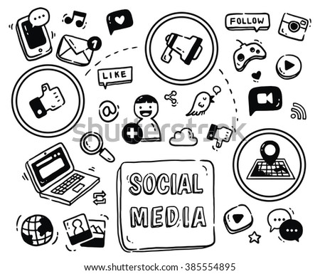 Social media themed doodle isolated on white background - stock photo