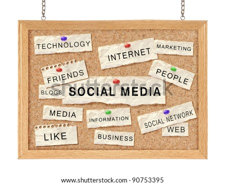 Social media with networking concept words on cork board isolated on white - stock photo