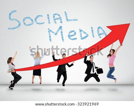 Social media word and red arrow report growth statistics - stock photo