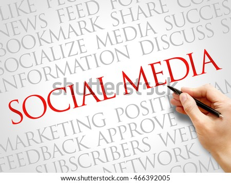 Social Media word cloud collage, business concept background