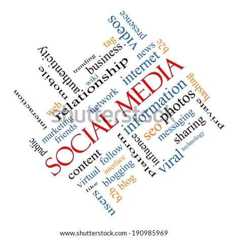 Social Media Word Cloud Concept angled with great terms such as network, follow, content and more. - stock photo