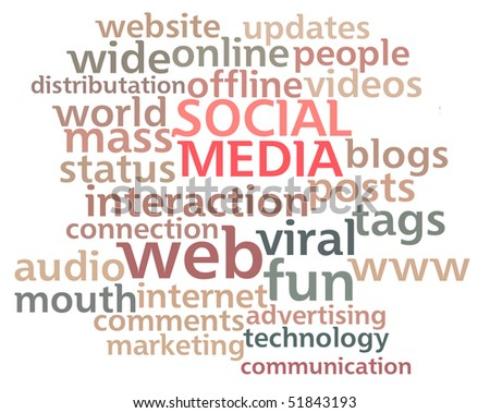 Social Media word cloud showing the main buzz keywords that happen around the web isolated on white background. - stock photo