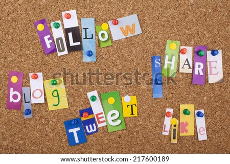 Social Media Word Cloud with cut out letters - stock photo